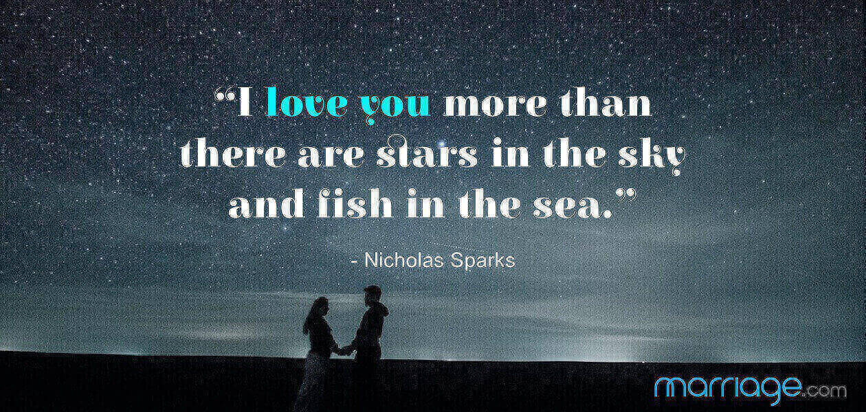 """""""I love you more than there are stars in the sky and fish in the sea."""" - Nicholas Sparks"""