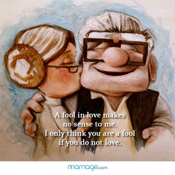 A fool in love makes no sense to me. I only think you are a fool if you do not love.