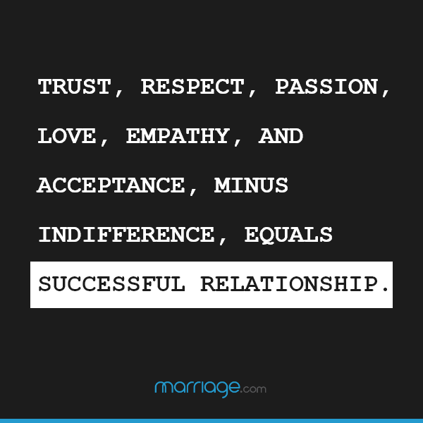 Trust, respect, passion, love, empathy, and acceptance, minus indifference, equals successful relationship.