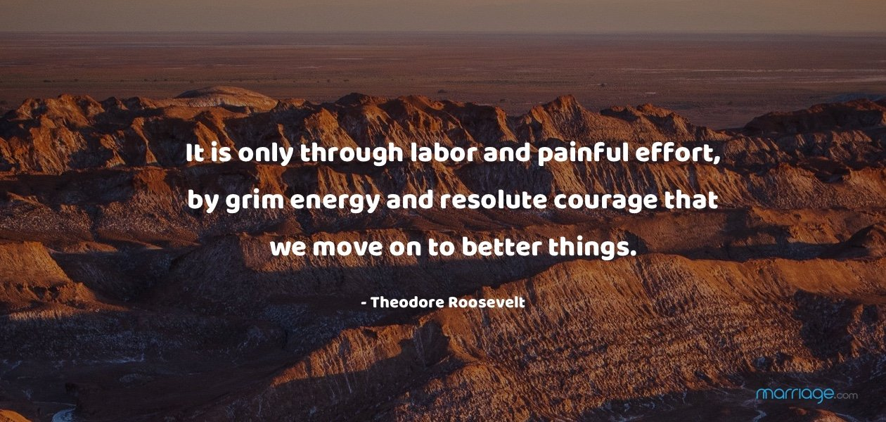 It is only through labor and painful effort, by grim energy and resolute courage that we move on to better things. - Theodore Roosevelt